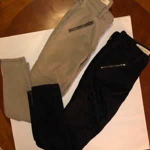 Anthropology olive & black zippered denim 26/2